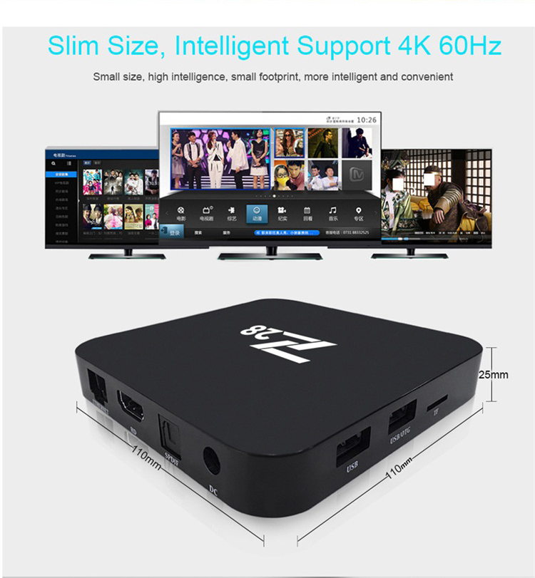 Hot sale new creation sim card digital universal cable set top box plastic Z28 tv box android 7.1OS