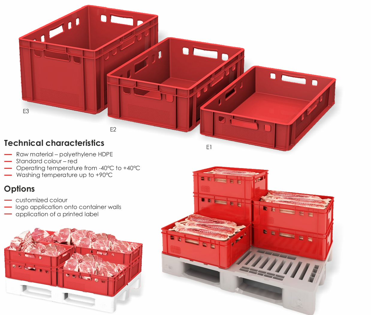 FCA price hight quality meat plastic box