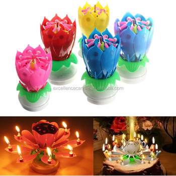 Hot Sale Walmart Happy Birthday Music Flower Cake Candle For Wholesale