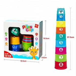 Educational colorful cartoon style plastic stacking cups toy