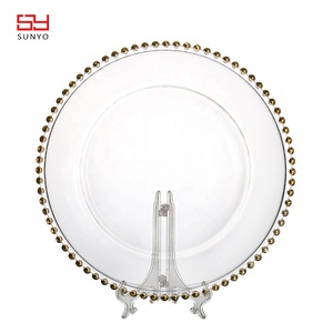 Wholesale Cheap Gold Beaded Edge Clear Glass Charger Plate