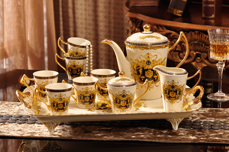 European Style Ceramic Coffee Set Tea Fashion Bone China Cup Suit Teapot Cups