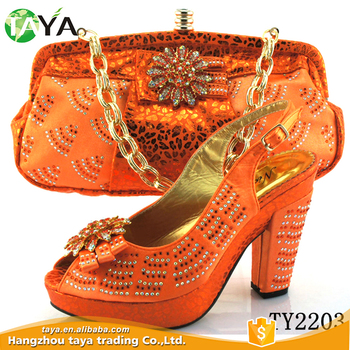 fashion black lady shose and bag high heel shoes and matching bags with stone