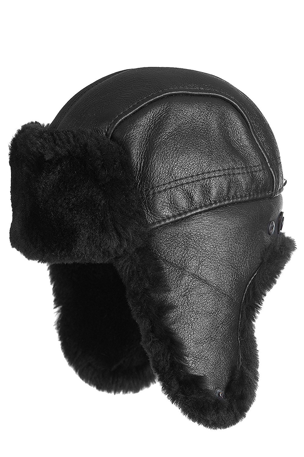 c554c48d413 Zavelio Mens Shearling Sheepskin Aviator Russian Ushanka with Snap Hat  CIT-03-XL-Brown