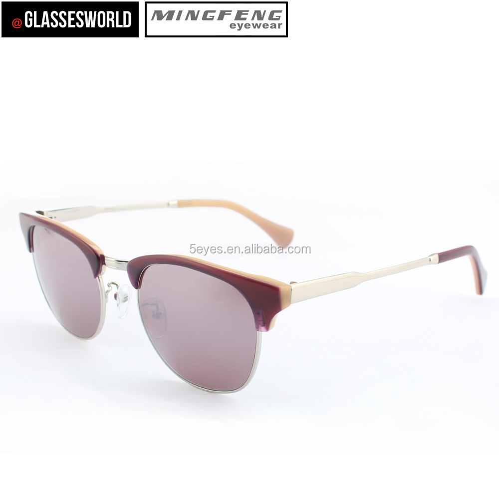 Fashion Wholesale UV400 Luxury Polarized Sunglasses Acetate Glasses & Metal temple Glasses