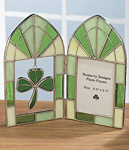 Stained Glass Irish Picture Frame - Green Shamrock Charm - Irish Wedding Picture Frame - Ireland Vacation