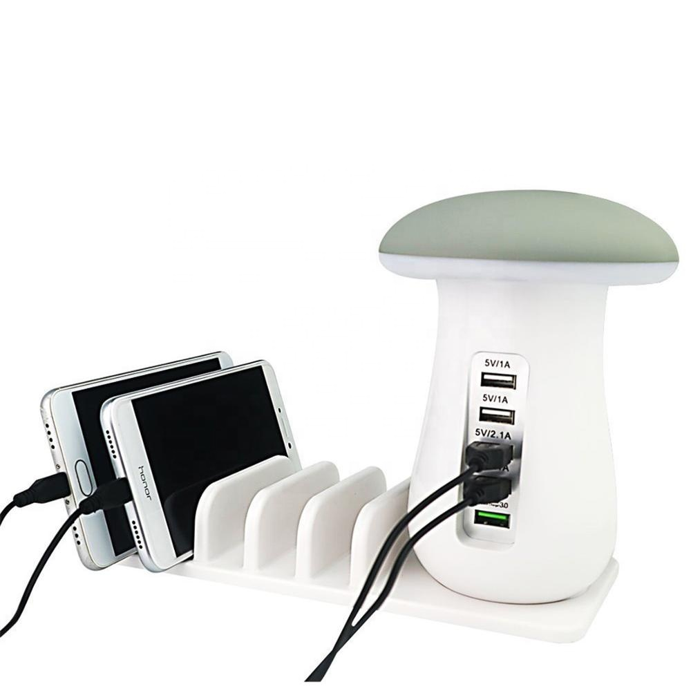 Pilz LED Lampe 5x USB-Schnellladegerät Desktop Multi Ladestation Organizer für Handys Tablets Power Banks Digital Devices