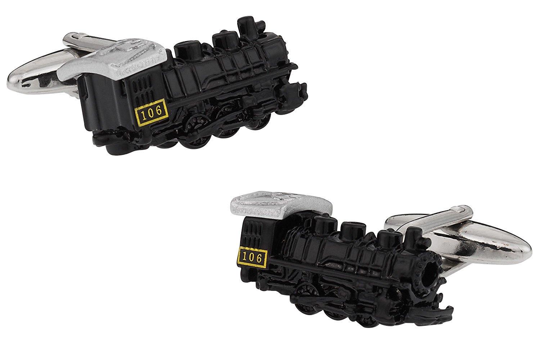 Cuff-Daddy Black Locomotive Train Cufflinks with Presentation Box
