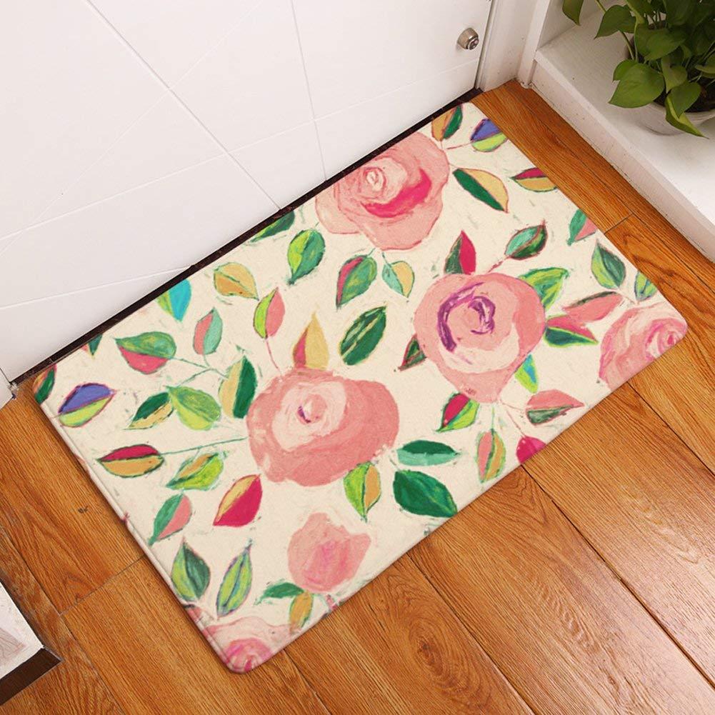 YJ Bear Thin Ethnic Sun Flower Print Rectangle Doormat Kitchen Floor Runner Floor Mat Entry Mat Home Decor Carpet Indoor Yellow 16 X 24