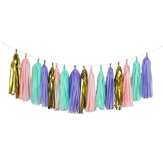 37 Piece Happy Birthday Banner Party Decorations Set In Pink Gold Purple Mint Colors