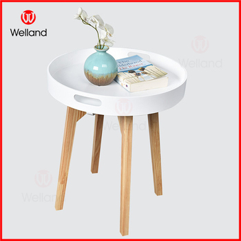 Round Wooden Tray Coffee Table End Table With Handle