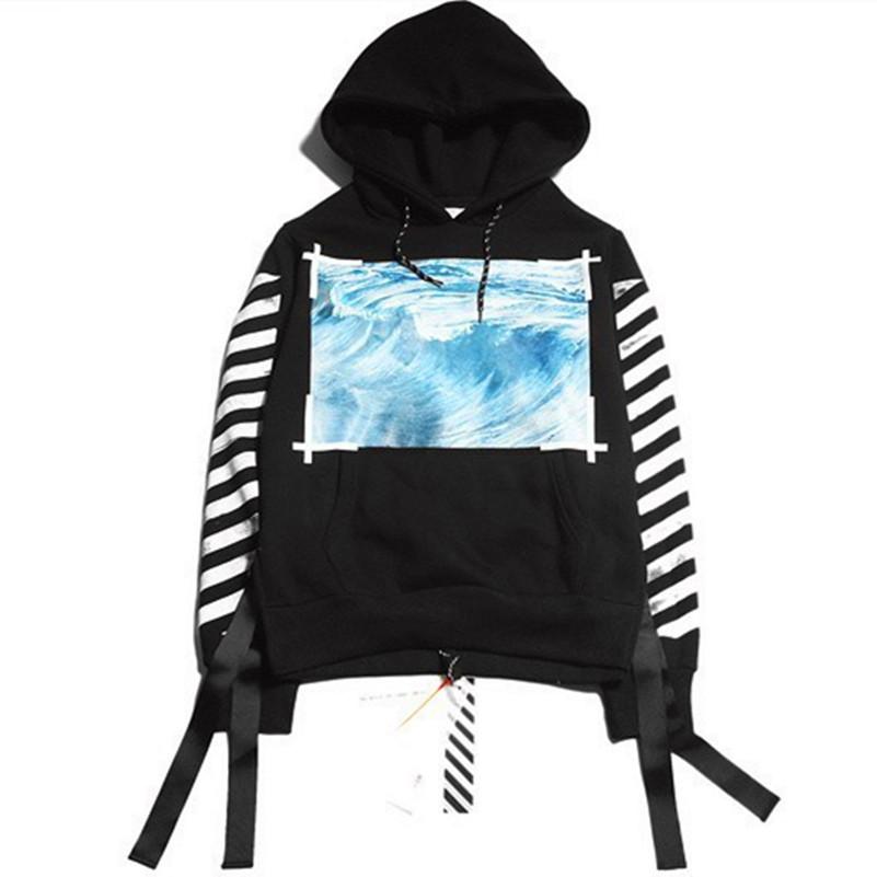 5ef690875811 Buy Top Quality Hip Hop Street Hoodie OFF WHITE C O VIRGIL ABLOH Hooded  Ocean Wave Pyrex Suprem Vision Stripe Print Men Sweatshirt in Cheap Price  on ...