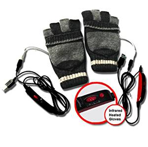 ValueRays® Heated Gloves, USB Heated Gloves, USB Fingerless Heated Gloves, Infrared Heated Gloves, Infrared Heat, Heated Mittens, Heated Computer Gloves, Cold Hands, Hand Warmer, ValueRays