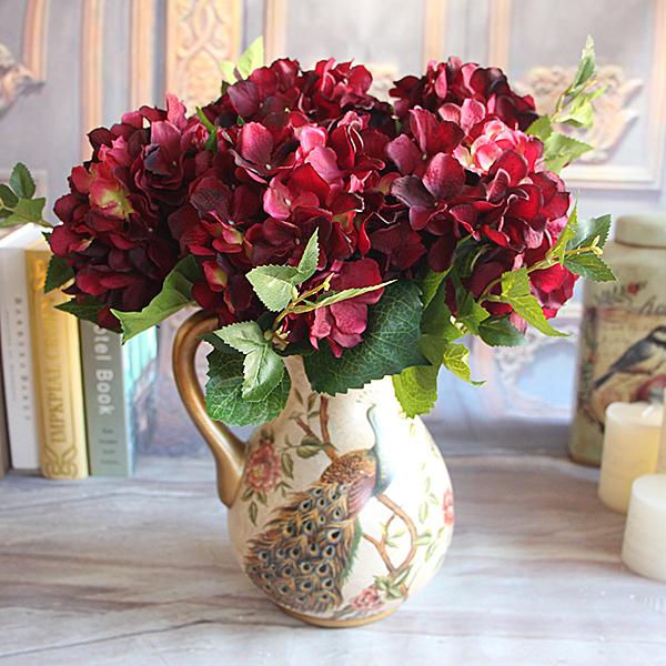 Christmas Flower Arrangements Artificial.Wine Red Rose Floral 1 Bouquet Artificial Peony Flower Arrangement Room Hydrangea Wedding Home Decor Party Fleur Artificielle