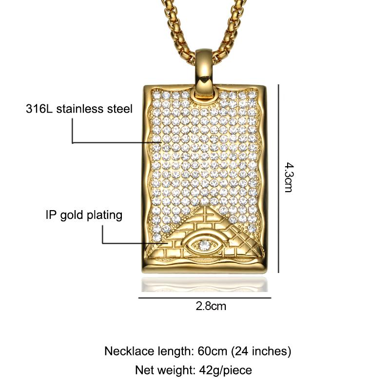 f4ea4c097020 De acero inoxidable 18 K chapado en oro de pirámide de Egipto todos ver mal  de
