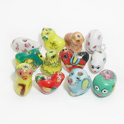 Hot sell Chinese Zodiac Porcelain animal beads mix colors for jewelry making