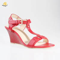 factory cheap female zapatos mujer t-strap red wedge heel china OEM lady wood importers shoes wedges sandals for women
