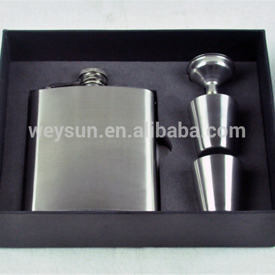 7 oz In Acciaio Inox Liquore Fiasco di vino Regalo Set con Battente Screw-On Cap