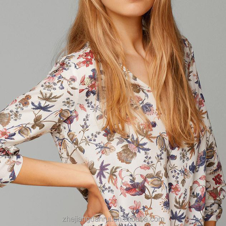 2017 Fashion V-neck Long Sleeve Floral Printing Cutting Women Lady Blouse & Top