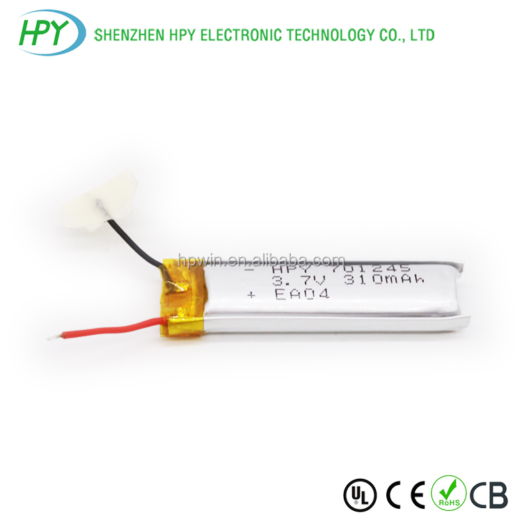 701245 3.7v 310mah Rechargeable lithium ion lipo battery for digital product