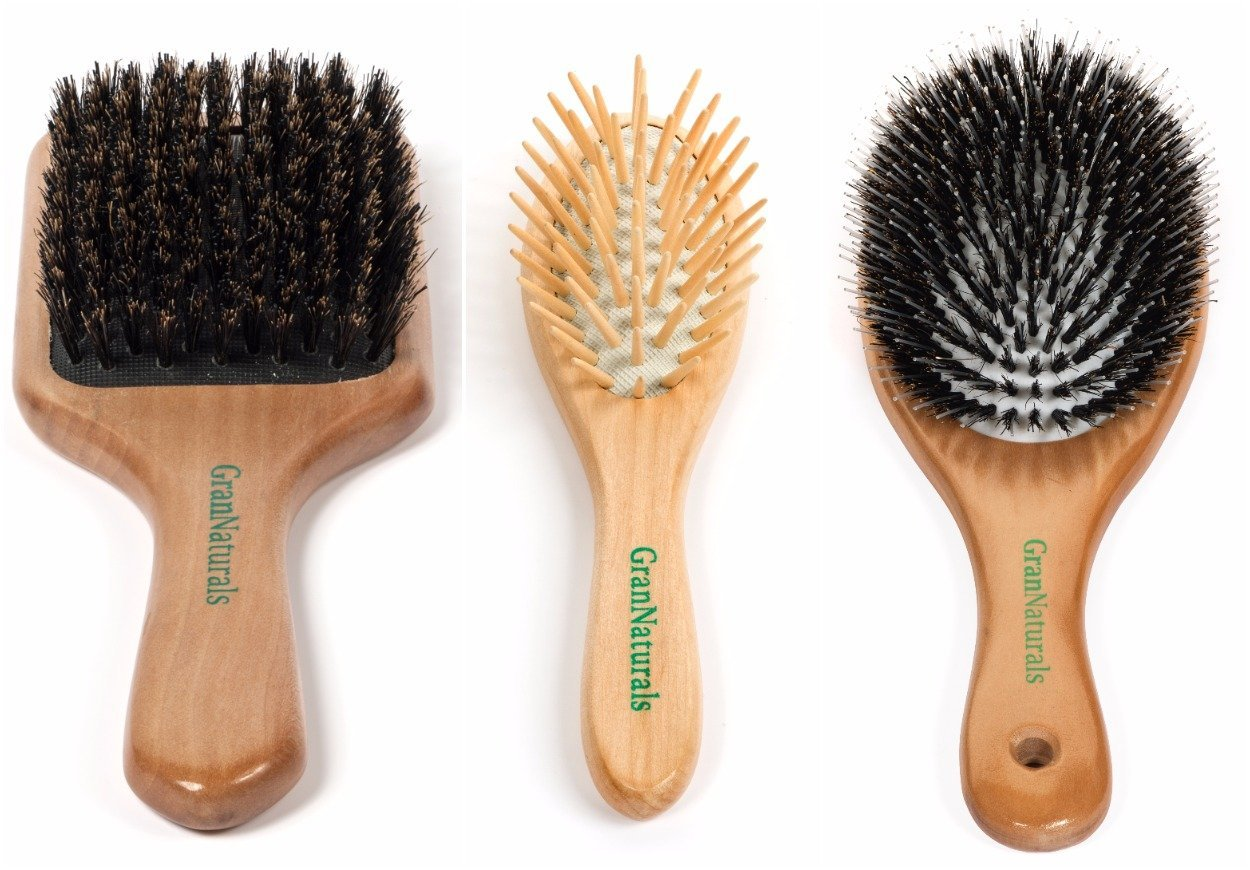 "GranNaturals 3 Pcs Everyday Hair Brush Set: Boar Bristle Paddle Brush, Detangling Travel Brush, Boar Bristle ""Porcupine Brush"