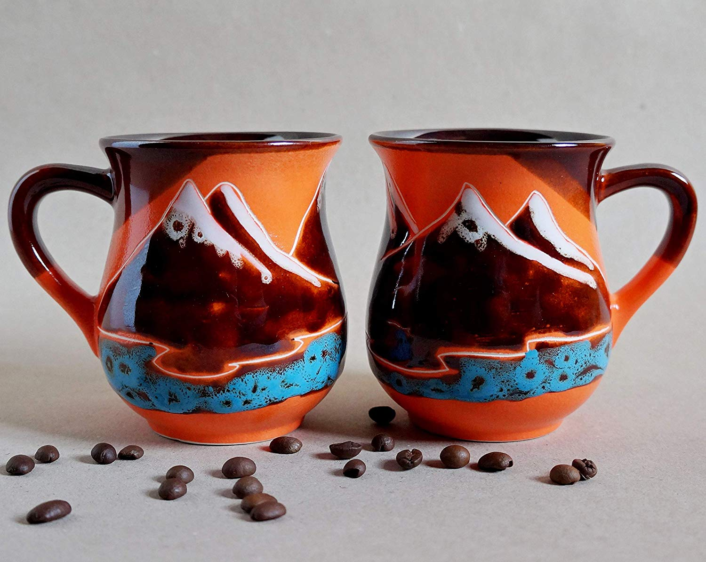 d67d6e802b7 Get Quotations · Mountains mug set of 2, Handmade Orange Coffee mugs, Tea  set ceramic cups,