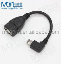 right angle micro USB B male to USB 2.0 A Female OTG Cable