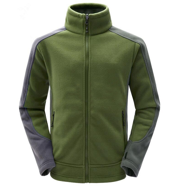 Male Windproof Custom Winter Stand Collar Warm Polar Fleece Jacket
