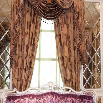 China Curtain Factory Supply Leaf Design Jacquard Valance Curtains