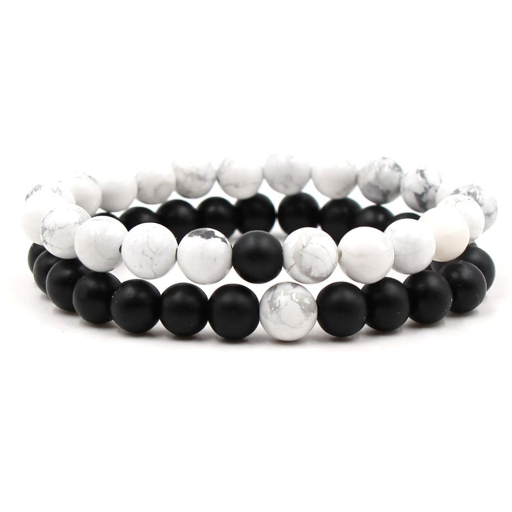 New Beads Bracelet Couples His & Hers Matching YinYang Lovers Distance Lava Stone Healing Natural Bead Bracelet For Couples, Black and white distance bracelet