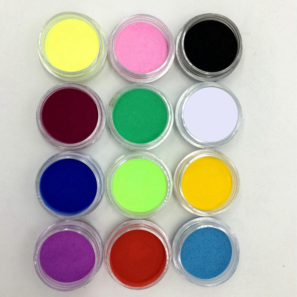Nail Art Acrylic Colors: 12 Pcs Mix Colors Acrylic Nail Art Dust Powder Decoration