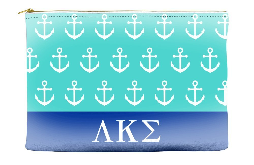 Lambda Kappa Sigma Anchors Teal Cosmetic Accessory Pouch Bag for Makeup Jewelry & other Essentials