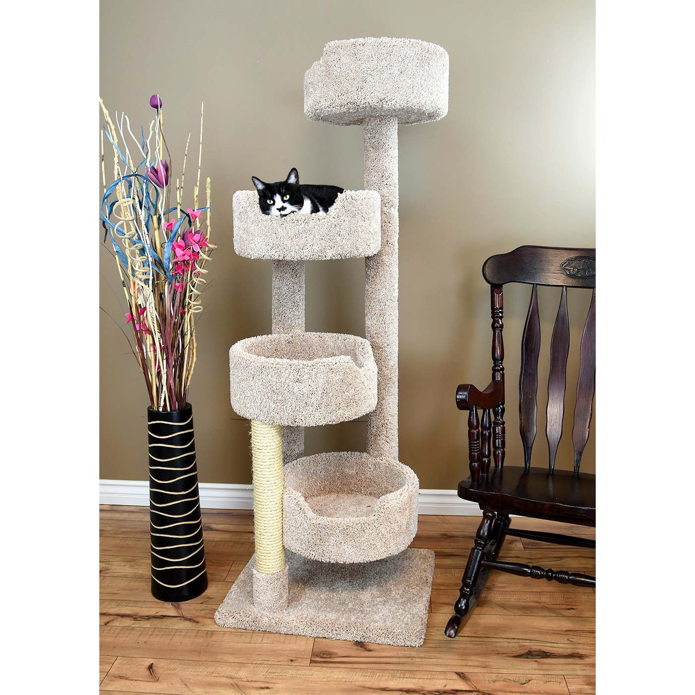 1 Piece Beige 65 Inches High Comfort Scratcher Cat Condo, Light Brown Color Pet Stairway Tower Tree Round Perch Bed Kitty House, Unique Cozy Relax 4 Spacious Perches Carpet, Sisal Rope Wood