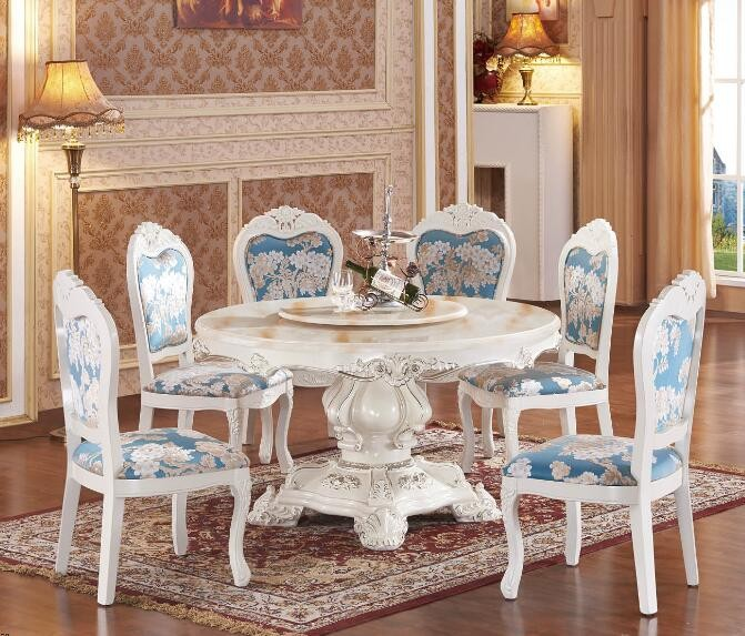 Factory Direct Sale Living Room Functional Furniture Warm Colored Round Marble Top Dining Table