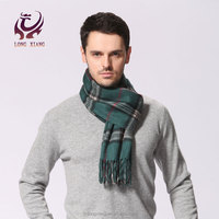 High Quality woven check custom men woolen scarf ,merino wool scarf