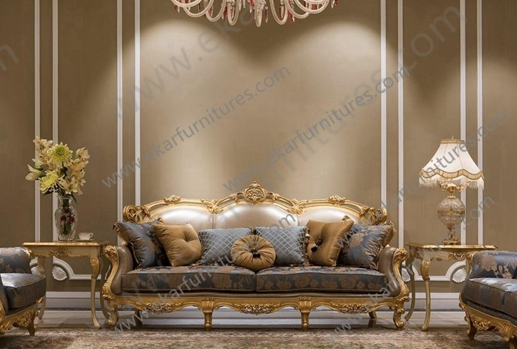 Royal Arab Middle East European Style Sofa Sets Leather