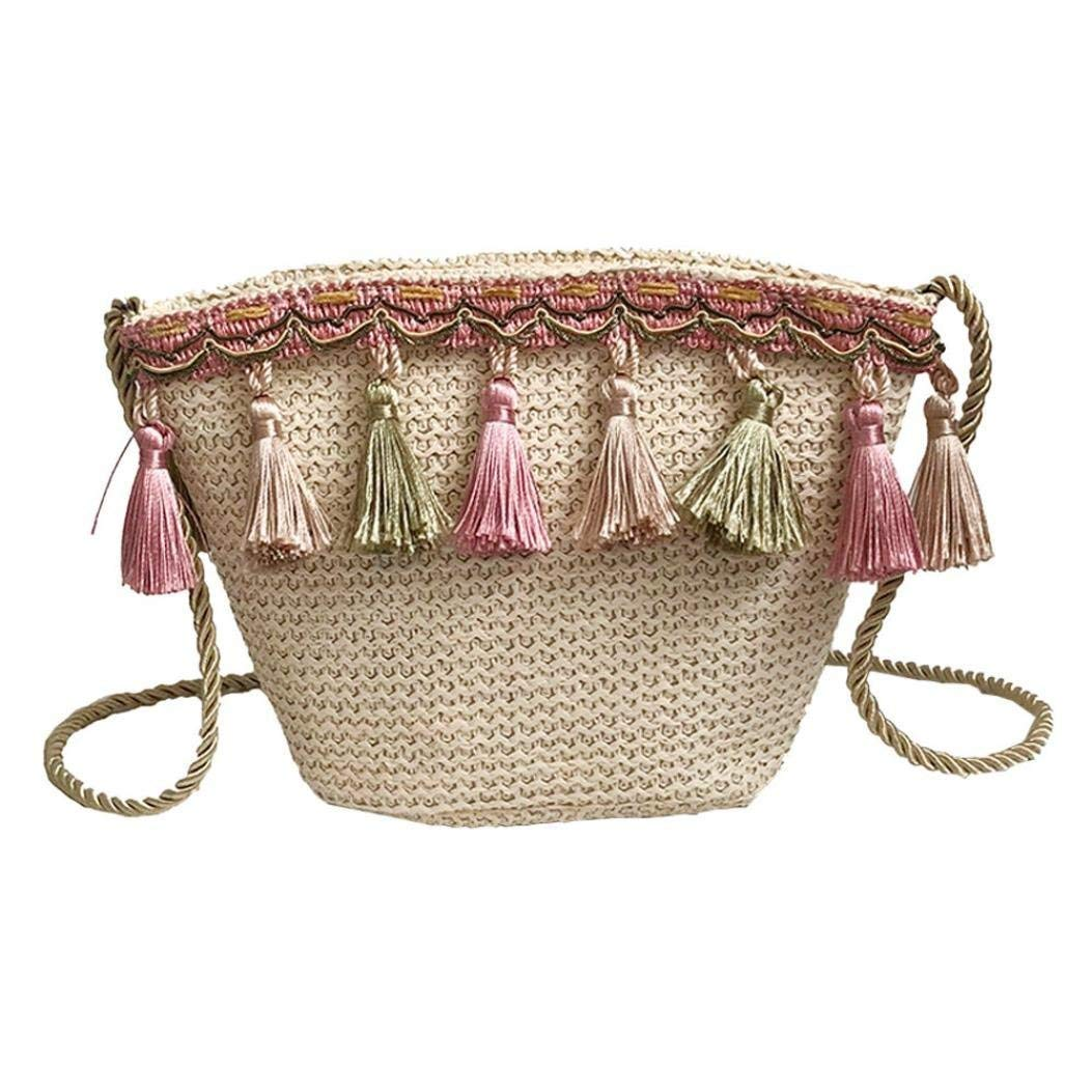 Women Straw Summer Shoulder Bag Stylish Beach Sling Bag Travel Weave Handbag (Khaki)