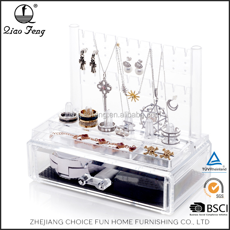 Hot selling 2 Pieces <strong>Set</strong> Acrylic Make <strong>Up</strong> Jewelry <strong>Box</strong> Organizer