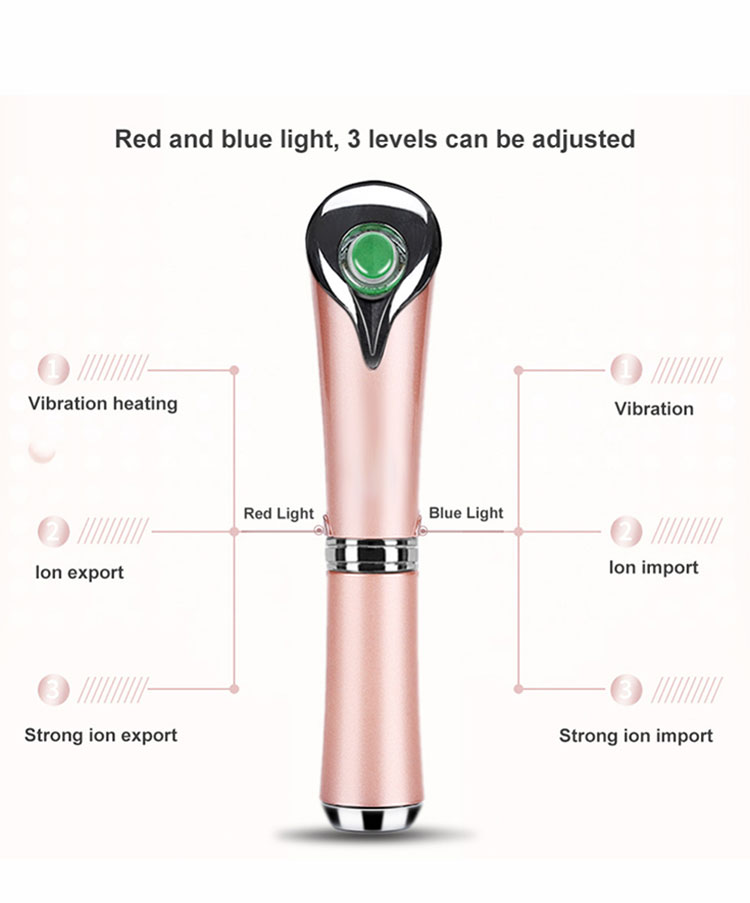 Portable USB Rechargeable Eye Wrinkles Eye Bags Removal  Ionic Eyes Facial Massager Roller with Heated Sonic Vibration