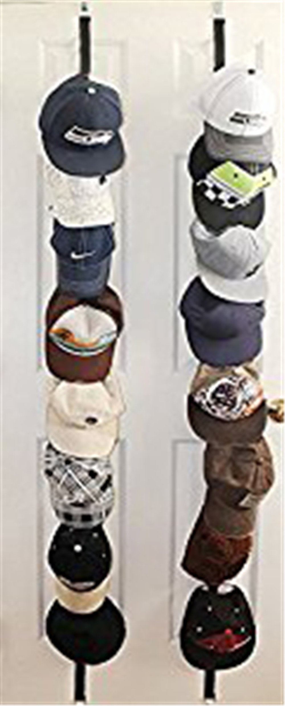 ZARO Hat Holder for Door, Adjustable Bag Hanger for Closet Cap Rack Baseball Hat Storage Organizer Ball Caps Cord Shelf Bedroom Decoration for Guys Girls-2 Sets for Black