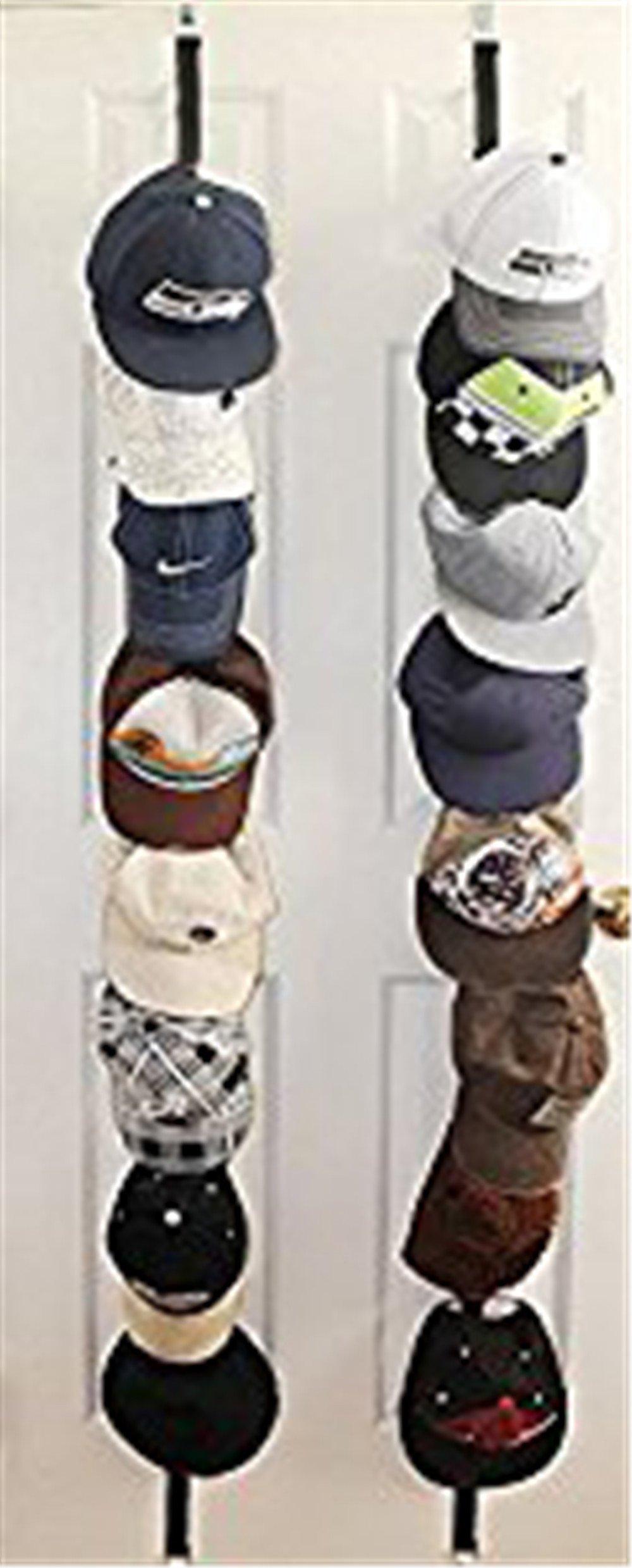 ZARO Hat Holder for Door, Adjustable Bag Hanger for Closet Cap Rack Baseball Hat Storage Organizer Ball Caps Cord Shelf Bedroom Decoration for Guys Girls-2 Sets for Black