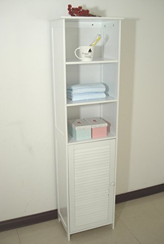 Homecharm-Intl HC-044 Tower Bathroom Cabinet Louvered,White