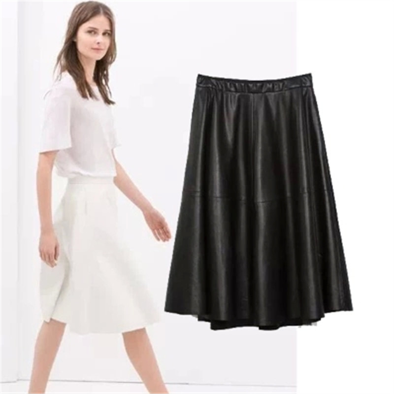 8bee6c3fb86 Get Quotations · New England Style PU Faux Leather A-Line Black Casual Skirts  Womens Plus Size Midi