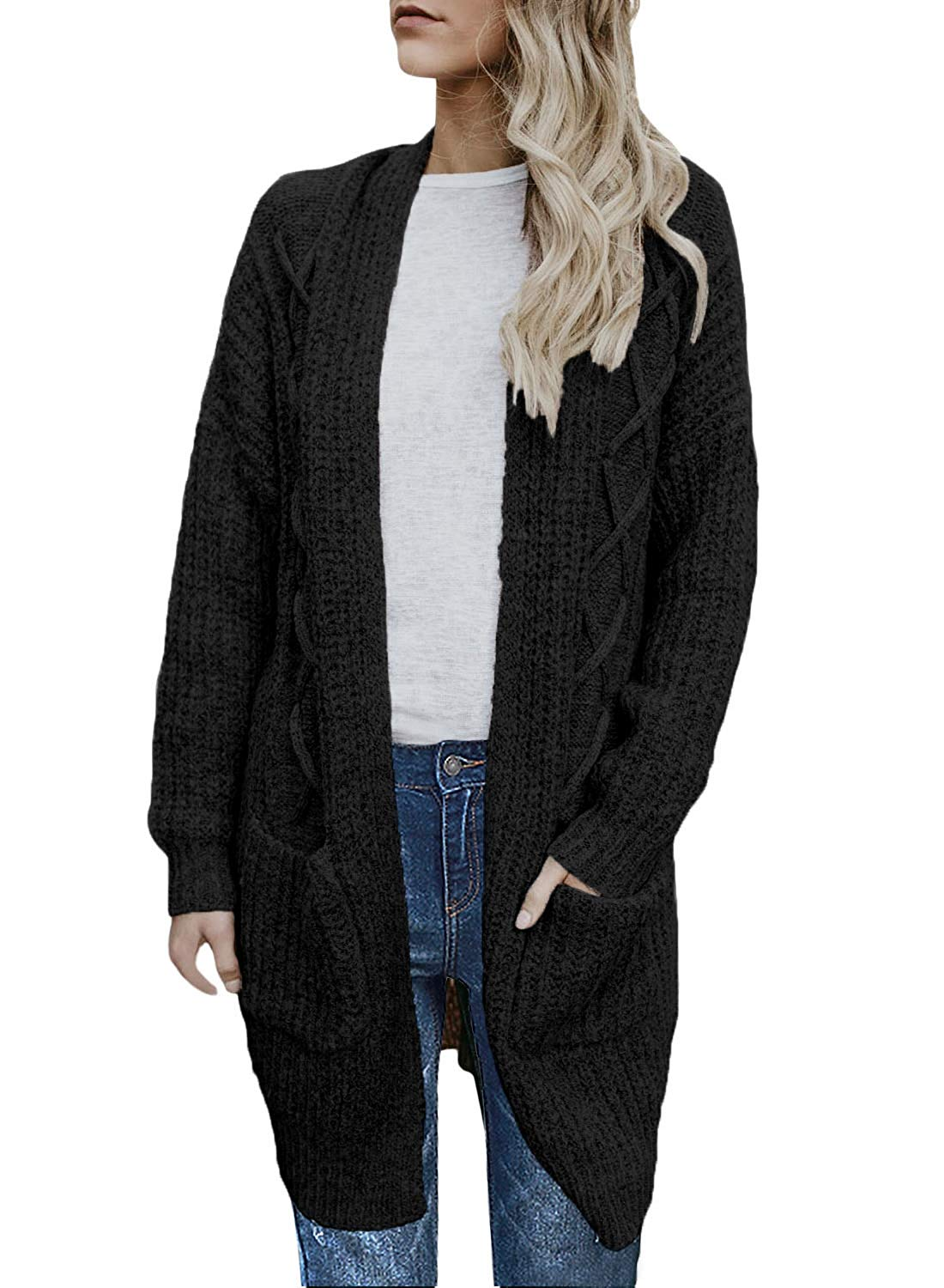 CILKOO Womens Open Front Long Sleeve Chunky Cable Knit Long Cardigans Sweater Pockets(S-XXL)