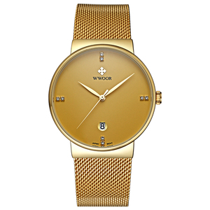 Classic WWOOR Brand Wholesale Vintage Watch Factory VogueQuartz Alloy Head Stainless Steel Band Casual Gift Gold Men WristWatch