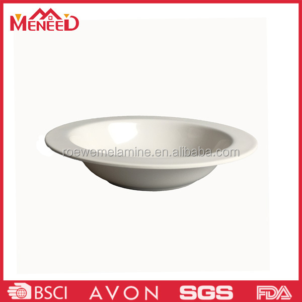 Chinese style round shape ceremic-like soup bowl, white plastic noodle container melamine bowl