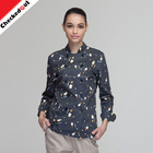High Quality Long Sleeves Restaurant Hotel Cotton Double Breasted Printed Hotel Uniforms for Women