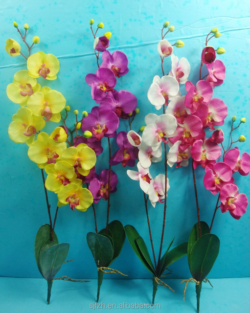 Beautiful Artificial Moth Orchid Flower With Leaves For Home