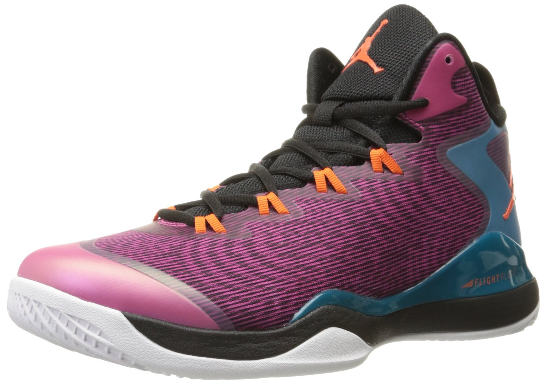 Nike Mens Air Jordan Super.Flyv3 Black/Fusion Pink/Tropical Teal/Electric Orange Basketball Sneakers Shoes 11