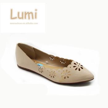 6101b2a973d11 Thaniland Laser Cut Ladies Pumps Women Pointed Flat Shoes - Buy Flat ...
